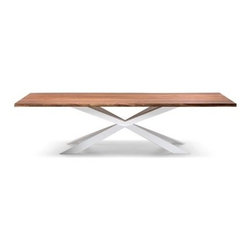Italydesign Studios - Spyder Wood Dining Table - Table with base in matt white or matt graphite varnished steel, stainless steel or Canaletto walnut. Veneered walnut Canaletto top with irregular solid wood edges. Special sizes for top on demand. Small reflection's irregularities on the stainless steel base are due to manual processing.