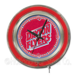 Holland Bar Stool - Holland Bar Stool Clk15DytnUn University of Dayton Neon Clock - Clk15DytnUn University of Dayton Neon Clock belongs to College Collection by Holland Bar Stool Our neon-accented Logo Clocks are the perfect way to show your school pride. Chrome casing and a team specific neon ring accent a custom printed clock face, lit up by an brilliant white, inner neon ring. Neon ring is easily turned on and off with a pull chain on the bottom of the clock, saving you the hassle of plugging it in and unplugging it. Accurate quartz movement is powered by a single, AA battery (not included). Whether purchasing as a gift for a recent grad, sports superfan, or for yourself, you can take satisfaction knowing you're buying a clock that is proudly made by the Holland Bar Stool Company, Holland, MI. Clock (1)