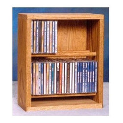 Wood Shed - 12.25 in. Dowel CD Storage Rack (Dark) - Finish: DarkTwo shelves. Capacity: 56 CD's. Made from solid oak. Honey oak finish. 12.25 in. W x 6.5 in. D x 14.5 in. H