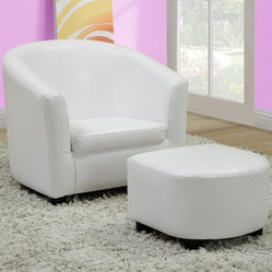 Monarch Faux Leather Juvenile Chair and Ottoman 2 Piece Set - White