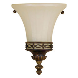 Feiss - Drawing Room Walnut Wall Sconce - -Amber snow scavo glass shade  -Please note item requires a 2x4 junction box.  Feiss - WB1330WAL