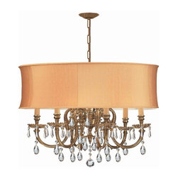 Crystorama - Crystorama 2916-OB-SHG-CLM Chandelier - The Brentwood Collection from Crystorama offers a nice mix of traditional lighting designs with large tailored encompassing shades. Adding either the Harvest Gold or the Antique White shade to these best selling skus opens the door to endless possibilitie