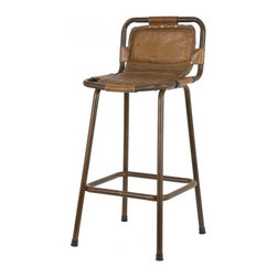 Meisel Bar Stool - Supple leather makes this industrial stool inviting. And its fabulous subtle details give it a rich look that makes it ideal for a variety of decor styles.