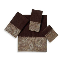 Avanti - Avanti Bradford Bath Towel in Java - An all-over paisley motif fabric band in tones of browns and blues trimmed with a robe-type braid bring a lovely touch to these rich java brown towels. 100% cotton sheared velour.