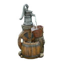 Alpine Fountains - Old Fashion Pump Barrel Fountain - Made from Polyresin, Stone Powder, and Fiberglass. 1 Year Limited Warranty. Assembly Required. Overall Dimensions: 12 in. L x 9 in. W x 24 in. H (10.56 lbs)This multi-tiered, fiberglass fountain has a rustic look of metal and wood.  The multiple water flows create and relaxing and meditative atmosphere.  They can be placed indoors or out.