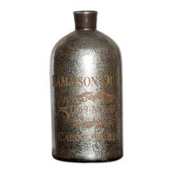 "Uttermost - Lamaison Mercury Glass Bottle Large - Looking like it came from a chateau in France, this large silver glass bottle is ready to pour on the rustic charm in your dining room or on a bookshelf. With its antique French wine print and brass wire top, imagine this bottle filled with dried lavender or sitting next to your copy of ""Les Miserables."""