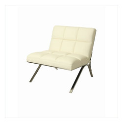 Pastel - Ragusa Club Chair RG-171 - The Ragusa club chair is a smart and modern design blends quality, value, style as well as comfort to any room. This chair is upholstered in Pu Ivory with Polished Stainless Steel frame adding not only a stylish and classic look but one with a modern appeal as well.