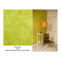 Casart Coverings - Removable and Reusable Colorwash Casart - This hallways space was transformed using a lime green, colorewash Casart. It brightens the space and adds soft texture that is wipeable, unlike traditional wallpaper. It was easily installed and just as easily removed with no paste, mess or damage to the walls. Another faux linen finish was added to change the look.