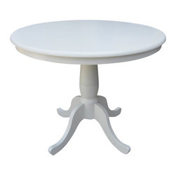 "International Concepts - International Concepts 36"" Round Dining Table in Linen White - International Concepts - Dining Tables - K3136RT - This beautifully designed Round Pedestal Dining Table constructed in solid wood is perfect for any home decor."