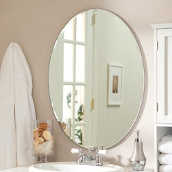 Odelia Frameless Wall Mirror - Includes mounting hardware, Oval shape, Double coated silver backing with seamed edges, Ready to hang vertically or horizontally, Wipe clean with damp cloth