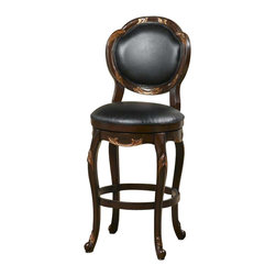 Hillsdale Furniture - Hillsdale Alaina Swivel Bar Stool in Distressed Cherry - Both stately and feminine, the Alaina swivel stool is a standout in any home. A cherry finish combined with delicate copper leaf accents and unique lattice back make this stool a powerhouse of home decor. The black leather seat and back add comfort and high end style. Available in both counter of barstool height. Some assembly required.