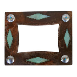 Ironwood - Rustic Iron Picture Frame Desert Diamond and Concho, 8x10 - A  unique  additon  to  your  Southwestern  Decor,  this  rustic  frame  handcrafted  from  wrought  iron  and  embellished  with  silver  conchos  and  a  turquoise  desert  diamond  motif  will  be  a  beautiful  addition  to  any  room.