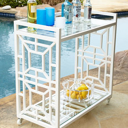 """Horchow - Tamsin Chinoiserie Bar Cart - Tamsin Chinoiserie Bar CartDetailsChinoiserie-style bar cart made of aluminum with tempered glass shelving.Powder-coated finish.34'W x 16""""D x 35""""T.Imported.Boxed weight approximately 24 lbs. Please note that this item may require additional delivery and processing charges."""