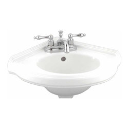 Renovators Supply - Corner Sinks White China Portsmouth Corner Sink 7'' H x 22'' W | 97333 - Renovators Supply Corner Sinks. Corner Vessel Sinks Wall Mount: Made of Grade A vitreous China these sinks endure daily wear and tear. Our protective RENO-GLOSS finish resists common household stains and makes it an EASY CLEAN wipe-off surface. Ergonomic and elegant easy reach design reduces daily strain placed on your body. SPACE-SAVING CORNER design maximizes limited bathroom space. Easy wall mount installation. Accepts 4 inch centerset or single hole faucet (with cover plate). Faucet sold separately. Measures 7 inch H x 22 inch W x 20 inch projection x 15 1/2 inch L each side along the wall.