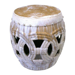 Pre-owned Large Rope Design Ceramic Garden Stool - A large ceramic garden stool, hand glazed and fired in a wood burning kiln giving each piece an individual look and making it a work of art. This garden stool makes for a beautiful accent table or extra seating for indoors or out!