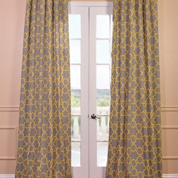 EFF - Marabella Printed Cotton Curtain Panel - Dress up any window in your home with this lovely 100 percent cotton curtain panel. This striking curtain features a lovely gray-and-yellow color scheme to enhance your decor,and the hem is weighted,ensuring the curtain drapes elegantly from the rod.