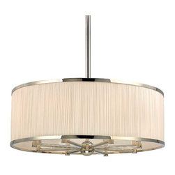 Hudson Valley Lighting - Hudson Valley Hastings I-8 Light Chandelier in Polished Nickel - Hudson Valley Lighting's Hastings's I-8 Light Chandelier shown in Polished Nickel. A lavish span of finely gathered natural silk enwraps the warm glow of our Hastings pendant. The gathered quality of the rich material's soft pleating is emphasized by the contrasting smoothness of the shade's cast metal rings. Reeded arms echo the silk's fine details and bring aesthetic unity to the collection's indulgent features.
