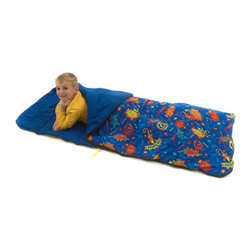 Bazoongi - Rad Reptiles Big Kid Slumber Bag Multicolor - BK-REP - Shop for Slumber and Sleeping Bags from Hayneedle.com! Bed bugs won't even think about biting when they see the colorful creatures on the outside of this Rad Reptiles Big Kid Slumber Bag. While the bed bugs scurry away your sleeper will snuggle in to a comfortable bed made with a 100% cotton outer shell a lining fabric of 80/20 polycotton insulation and a 100% polyester hollow-fill fiber for warmth. This slumber bag is easy to clean and keep clean thanks to its vinyl drawstring bag for storage and machine-safe fabrics that you can put in both washer and dryer. Its colorfast fabrics ensure that all reptiles will stay rad and bright ready to creep and slither to another successful sleepover.About Bazoongi KidsBased in Addison Texas Bazoongi Kids specializes in fun and practical children's products including backpacks slumber bags lunch boxes trampolines playhouses and tents. Using quality materials and superior craftsmanship they create long-lasting products that kids will eventually outgrow but won't demolish in 10 seconds flat. Bazoongi's in-house designers continue to develop cool stuff that kids will like using a lively sense of color and whimsical imagery to celebrate the joys of childhood.