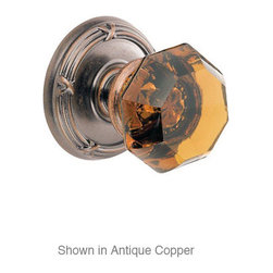 Fusion - Amber Glass Knob With Ribbon And Reed Rose, - The Ribbon and Reed design is well known in French Colonial decor; and when it is paired with the Victorian Amber Glass knob it is a vision of old world grandeur.  Priced in passage function, but available as dummy or privacy also.