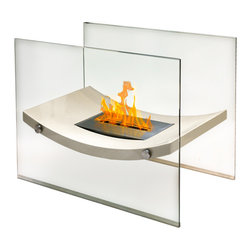 Anywhere Fireplace - Broadway Indoor/Outdoor Fireplace - Beige Gloss - The Anywhere Fireplace Broadway model combines the sophisticated elegance of beige lacquer and glass fireplace with all the benefits of a bio-ethanol fireplace-no installation, clean burning, vent-less, needs no chimney, gas or electric hook-up.