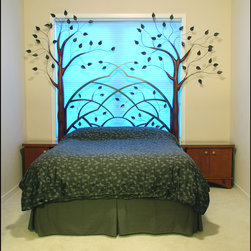 SPECIALTIES - Three-dimensional, carved, stained Birch Trees with painted metal leaves and arched metal headboard.  Two stained Birch nightstands.