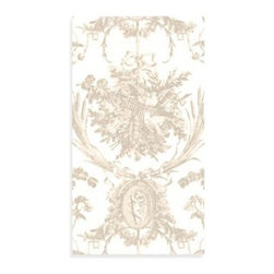 Caspari Inc. - Romantic Toile Natural Guest Napkin 12-Pack - Impress your guests with these stylish, high quality napkins. Made of extra thick luxury paper that almost feels like cloth.
