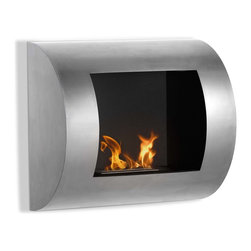 """Ignis Products - Luna Modern Wall Mounted Ventless Bio Ethanol Fireplace - You'll fall fast and hard for the sleek contemporary look of the Luna Wall Mounted Ventless Ethanol Fireplace. It features a concave glass front as an option, that serves to intensify the look of the flames within to set a warm, comfortable vibe in any room. This easy-to-install wall mount fireplace hangs on any wall, so it takes up vertical space instead of space on your floor, which makes it perfect for compact areas, including small rooms and apartments. This modern unit has a total output of around 4,000 BTUs with an approximate burn time of around two hours for each refill.  The Luna fireplace comes with a burner insert, damper tool, and hanging hardware. Dimensions: 23.5"""" x 20.5"""" x 7.25"""". Features: Easy Installation - Mounts directly on the wall (mounting brackets included). Protective glass shield. Ventless - no chimney, no gas or electric lines required. Easy or no maintenance required. Capacity: 0.45 Liter. Approximate burn time - 2 hours per refill. Approximate BTU output - 4000."""