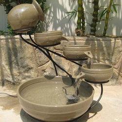 Outdoor Classics - Gray Ceramic Cascade Solar Fountain -
