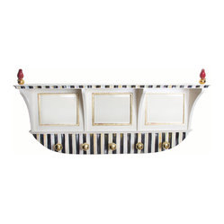 Courtly Stripe Wall Mount Coat Rack | MacKenzie-Childs - Just what the mud room needs for spring. Color-dragged stripes, handcrafted ceramic cardinals on gold lustre balls, gold-framed mirrors, and solid brass coat knobs.