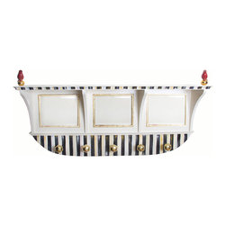 Courtly Stripe Wall Mount Coat Rack   MacKenzie-Childs - Just what the mud room needs for spring. Color-dragged stripes, handcrafted ceramic cardinals on gold lustre balls, gold-framed mirrors, and solid brass coat knobs.