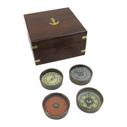 "Handcrafted Model Ships - Solid Brass 2"" Compasses Set of 4 with Rosewood Box - Brass Compass - This is a beautiful Solid Brass 2"" Compass set which comes with 4 total compasses inside a rosewood box. It is the perfect nautical gift for a family member, friend, or coworker. Each of the brass compasses sit nestled in the rosewood box, and they are small enough to transport with you and take on the go."