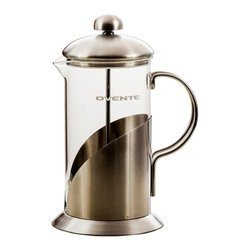 Ovente - 20-Oz. Leaf French Press - Brew flavorful coffee in classic style with this sleek French press. Made of durable, heat-resistant glass with a stainless steel mesh filter, it features a safety lid, so splashing is never a problem. �� Holds 20 oz. Stainless steel / glass Dishwasher-safe Imported