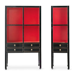 Red Crawford Cabinets - These red cabinets — wow! Just wow!
