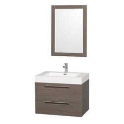 """Wyndham Collection(R) - Amare 30"""" Wall-Mounted Bathroom Vanity Set with Integrated Sink by Wyndham Colle - The Wyndham Collection is an entirely unique and innovative bath line. Sure to inspire imitators, the original Wyndham Collection sets new standards for design and construction. The Amare wall-mounted vanity family delivers beautiful wood grain exteriors offset by modern brushed chrome door pulls. Each vanity provides a full complement of storage areas behind sturdy soft-close doors and drawers. This versatile vanity family is available with distinctive vessel sinks or sleek integrated counter and sinks to fulfill your design dreams. A wall-mounted vanity leaves space in your bathroom for you to relax. The simple clean lines of the Amare wall-mounted vanity family are no-fuss and all style. Amare Bathroom Vanities are available in multiple sizes and finishes.FeaturesConstructed of beautiful veneers over the highest grade MDF, engineered for durability, and to prevent warping and last a lifetime 8-stage preparation, veneering and finishing processHighly water-resistant low V.O.C. sealed finishUnique and striking contemporary designModern Wall-Mount DesignMinimal assembly requiredDeep Doweled DrawersFully-extending soft-close drawer slides Backsplash not availableAcrylic-Resin integrated sink Rectangular Sink Single-hole faucet mountFaucet(s) not includedMirror includedMetal exterior hardware with brushed chrome finishTwo (2) functional drawersPlenty of storage spacePerfect for small bathrooms and powder roomsIncludes drain assemblies and P-traps for easy assembly How to handle your counter Spec Sheet for Vanity Installation Guide for VanitySpec Sheet for Mirror Installation Guide for Mirror Spec Sheet for Amare Rotating Wall Cabinet with Mirror (WC-RYV202) Spec Sheet for Amare Bathroom Wall Cabinet (WC-RYV205)Installation Guide for Amare Bathroom Wall Cabinet (WC-RYV205) Spec Sheet for Amare Bathroom Wall Cabinet (WC-RYV207-WC)Installation Guide for Amare Bathro"""