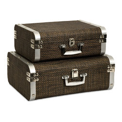 iMax - Curry Storage Suitcases with Stainless Steel Trim, Set of 2 - This set of two classic and sophisticated storage cases is covered in a woven chocolate toned cover and features Stainless steel trim.