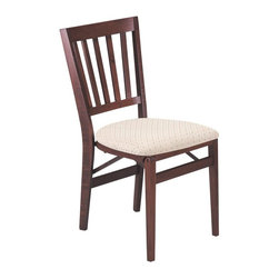 Stakmore - Schoolhouse Folding Chair in Warm Cherry Fini - Set of 2. Warm Cherry finish. Transitional folding. Contemporary style. Vertical slats. Curved top and bottom rail. Steel folding mechanism. Padded upholstered seat. Folds up to 7.75 in. deep for storage. Made from solid wood. No assembly required. 19.25 in. W x 17.5 in. D x 33.5 in. H. Seat height: 18.75 in.