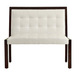 """Monarch Specialties - Monarch Specialties Transitional Solid Wood Bench in Cappuccino, White - After a long day of work, let yourself relax immediately on this 40"""" long bench. Place it in your entrance way for a practical way to take of your shoes or get ready in the morning. This taupe leather-look bench can also be used as an accent piece in a hallway, living room or bedroom. Its cappuccino solid wood offers sturdy support and a stylish look to your decor. What's included: Bench (1)."""