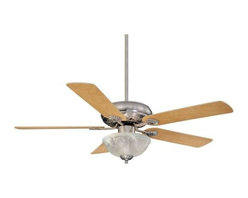 Savoy House - Savoy House Charleston Ceiling Fan in Satin Nickel - Savoy House Charleston Model SV-52-411-5RV-SN in Satin Nickel with Reversible Chestnut/Maple Finished Blades.