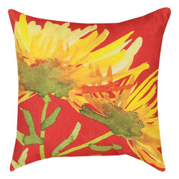 """Manual - Pair of """"Yellow Blooming"""" Floral Watercolor Print Indoor / Outdoor Throw Pillows - This pair of 18 inch by 18 inch woven throw pillows adds a wonderful accent to your home or patio. The pillows have (No Suggestions) weatherproof exteriors, that resist both moisture and fading. The front and back of the pillows have the same print, a watercolor depiction of lovely yellow flowers against a bright red background. They have 100% polyester stuffing. These pillows are crafted with pride in the Blue Ridge Mountains of North Carolina, and add a quality accent to your home. Original artwork by Martha Collins. They make great gifts for flower lovers."""