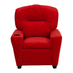 Flash Furniture - Contemporary Red Microfiber Kids Recliner with Cup Holder - Kids will now be able to enjoy the comfort that adults experience with a comfortable recliner that was made just for them! This chair features a strong wood frame with soft foam and then enveloped in durable microfiber upholstery for your active child. Choose from an array of colors that will best suit your child's personality or bedroom. This petite sized recliner will not disappoint with the added cup holder feature in the armrest that is sure to make your child feel like a big kid!