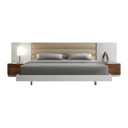 J&M Furniture - Lisbon White Lacquer / Walnut Contemporary Platform Bed, Queen - Lisbon White Lacquer / Walnut Bed mixes a natural white lacquer finish looking striking against the warm natural walnut wood veneer. The padded headboard ties the white and walnut with a soothing beige finish.