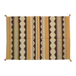 4'X6' Area Rug, Hand Woven Navajo Style Flat Weave 100% Wool Rug SH13665 - Soumaks & Kilims are prominent Flat Woven Rugs.  Flat Woven Rugs are made by weaving wool onto a foundation of cotton warps on the loom.  The unique trait about these thin rugs is that they're reversible.  Pillows and Blankets can be made from Soumas & Kilims.
