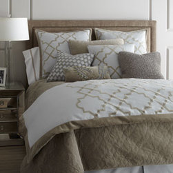 """Dransfield & Ross House - Dransfield & Ross House King Dust Skirt - Evocative of the iconic royal residence in Granada, bed linens with Moorish aesthetics bring texture and dimension to your bedroom. From Dransfield & Ross® House. """"Alhambra"""" pale aqua duvet covers and matching accessories are linen with cotton vel..."""