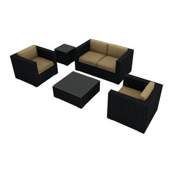 Harmonia Living - Urbana 4 Piece Modern Wicker Sofa Set, Heather Beige Cushions - Create your own outdoor living room with this set, which includes a love seat, two club chairs, a coffee table and Sunbrella® cushions. The durable, UV-protected aluminum and wicker construction means you can relax outside for years to come, and the cushions are moisture-resistant and easy to clean.