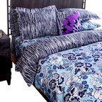koi Design - Jazzy Duvet Set - Out with your ho-hum bedding and in with a colorful option for laying your head! Intertwined stripes and flowers on this duvet set strike a trendy pattern mix that's feminine without being precious. The blue to indigo color palette offers high style and high versatility, teaming well with both black or mod white furnishings.