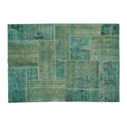 1800-Get-A-Rug - Oriental Rug Old Persian Patchwork Overdyed Hand Knotted Rug Sh13594 - The Overdyed and Patchwork rug represents one of the hottest trends in the industry today. Each Overdyed rug is stripped of its original colors, then dyed again in vibrant hues, to create unique and one-of-a-kind pieces. The Patchwork rug is handcrafted out of salvaged, vintage carpets, with a variety of colors combining to form a wholly unique and textured design.