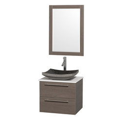 Wyndham - Amare 24in. Wall Vanity Set in Grey Oak w/ White Stone Top & Black Granite Sin - Modern clean lines and a truly elegant design aesthetic meet affordability in the Wyndham Collection Amare Vanity. Available with green glass or pure white man-made stone counters, and featuring soft close door hinges and drawer glides, you'll never hear a noisy door again! Meticulously finished with brushed Chrome hardware, the attention to detail on this elegant contemporary vanity is unrivalled.