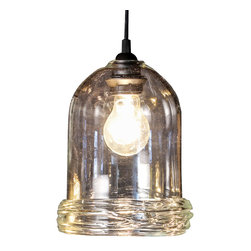 Frost Glass - Osso Pendant Light, Clear, Medium - Our hand blown pendant lighting has a unique ribbed base that brings a rustic elegance to any space. Choose from three different warm, translucent tones and watch your room transform in the irredescent glow. Each pendant is hand blown without the use of molds, therefore no two are exactly alike.