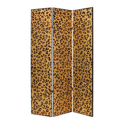 Wayborn - Wayborn Cheetah Look Room Divider in Gold/Black - Wayborn - Room Dividers - 1399X - Wayborn coromandel screen start with a cedar plywood frame covered in a cheesecloth material. Then layer after layer of plaster is applied; each layer must dry before another layer can be applied. After all the plaster has been applied several coats of lacquer is put over the entire surface. The design is drawn onto life-sized paper and carefully traced on to the panels. The craftsman then hand carves the design into the screen through the lacquer into the plaster. Once the screen is done it is painted with water based paint or silver/gold leaf is applied and sealed with a clear lacquer coat.