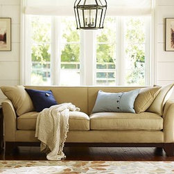 """Greenwich Upholstered Sofa, Down-Blend Wrap Cushions, Textured Basketweave Metal - With its handsome welted seams and down-blend-wrapped seat cushions, the Greenwich Sofa is suited to rooms where relaxing and entertaining demand equal time. 86"""" w x 37"""" d x 34"""" h {{link path='pages/popups/PB-FG-Greenwich-3.html' class='popup' width='720' height='800'}}View the dimension diagram for more information{{/link}}. {{link path='pages/popups/PB-FG-Greenwich-4.html' class='popup' width='720' height='800'}}The fit & measuring guide should be read prior to placing your order{{/link}}. Down-blend wrapped cushions provide a casual and relaxed look. Proudly made in America, {{link path='/stylehouse/videos/videos/pbq_v36_rel.html?cm_sp=Video_PIP-_-PBQUALITY-_-SUTTER_STREET' class='popup' width='950' height='300'}}view video{{/link}}. For shipping and return information, click on the shipping info tab. When making your selection, see the Special Order fabrics below. {{link path='pages/popups/PB-FG-Greenwich-5.html' class='popup' width='720' height='800'}} Additional fabrics not shown below can be seen here{{/link}}. Please call 1.888.779.5176 to place your order for these additional fabrics."""